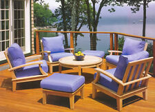 Somer Grade-A Teak Wood 7 pc Sofa Lounge Chair Ottoman Set Outdoor Garden Patio