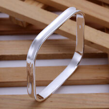 925Sterling Silver Jewelry Smooth Square Circle Cuff Bangle Bracelet ZB053