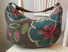 FOSSIL Large Brown Blue Red Flower Hand Stitched Distressed Hobo RARE - SO CUTE!