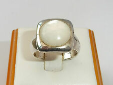 Vintage Ladies Jewellery Sterling 925 Silver Mother of Pearl Solitaire Ring
