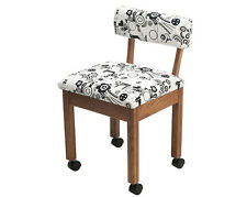 Horn Sewing Chair - Seat, Craft, Dressmaking, Quilting, Storage, White, Black