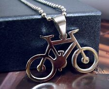 Bicycle Stainless Steel Pendant Chain Necklace Bike Transport Cycle Pedal Ride