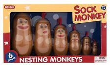 Sock Monkey Nesting Dolls Toy Figure by Schylling, NEW and MINT!
