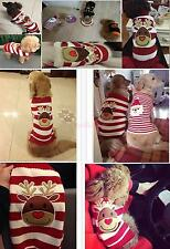 Christmas Reindeer Striped Pet Dog Puppy Sweater Clothes Apparel Costume L