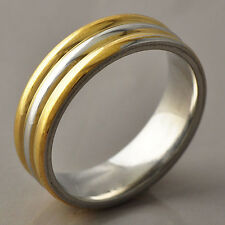 Womens Unisex Rings Stainless Steel Gold Filled Surface Wide Band Ring SZ 8