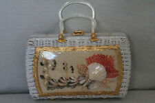 Vintage American  SHELL ART WHITE WICKER BOX PURSE HANDBAG Hand-Made By Atlas