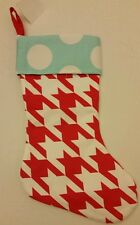 Christmas Holiday Stocking Red White Blue Houndstooth Polka Dot Cute