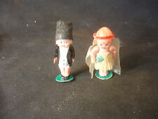 Old Vtg Plastic Bride And Groom With Movable Arms Figurine Doll