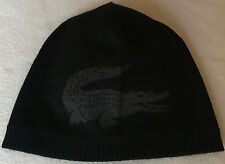 Lacoste Reversible Wool Beanie Hat Cap With Contrasting Crocodile