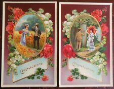 "2 Antique Victorian Chrome ""Congratulations"" Postcard-Gold Trim Victorian Couple"