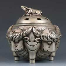 Chinese Tibetan Silver Hand-carved Cattle Incense Burner w Ming XuanDe gd7917