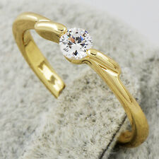 Wedding Eternity Womens 9k Gold Filled Clear Crystal Band Ring Size 6