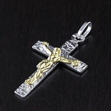 Unisex Womens Mens Solid 925 Sterling Silver Jesus Cross Pendant Italy 30mm