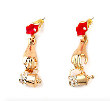 Fashion  Betsey Johnson Jewelry Red lips hip flask Rock Crystal Earrings A304