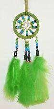 TRAUMFÄNGER D= 5,0 cm grün, Dreamcatcher Perlen, Indianer Federn, Western Deko