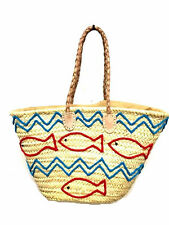 Straw Shopping French Market Basket Beach Bag Large Moroccan Tote Woven Fish