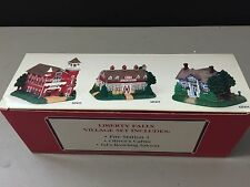 LIBERTY FALLS VILLAGE SET OF 3 Fire Station, Oliver's Cabin & Bowling Saloon NEW