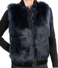 French Dressing - S - NWT - Blue Tinted Black - Plush Faux Fur Vest Jacket