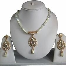 WHITE GOLD INDIAN ETHNIC COSTUME JEWELLERY NECKLACE EARRINGS PEARLS SET NEW