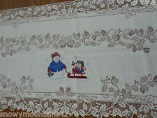 Fireplace White Mantle Snowman Sleigh Sled Snowflake Lace Runner Scarf  Holiday
