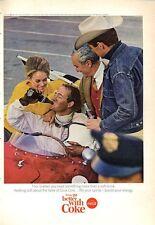 1965 Coke Coca Cola Vintage Bottle Race Car Driver Cowboy PRINT AD