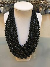 NWOT Multi Strand Black Round Bead Statement Necklace Anthropologie