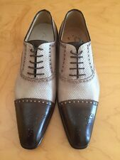 Brown and tan como bianco roby lace up with brown cap toe-made in Italy