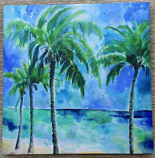 Palm Trees on the Beach wood frame Print on Canvas