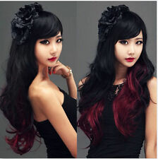 Hot Long Lolita Black+Red Ombre Wig Wavy Curly Hair Full Wig Anime Cosplay Party