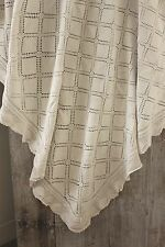 Antique Vintage French bedcover coverlet crochet lace handmade cotton 58X71
