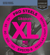 D'Addario EPS170-5 5-String ProSteels Bass Guitar Strings, Light, 45-130, Long S