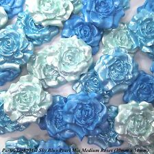 12 Sky Blue Pearl Mix Sugar Roses edible flowers wedding cake decorations 30mm