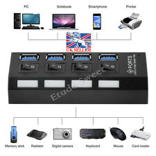 New 4 Ports USB 3.0 HUB 5Gbps Super Speed Compact External UK AC Power Adapter