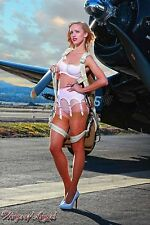 Wings of Angels Malak Pin Up Print Ashten in Lingerie and Jacket WWII Corsair