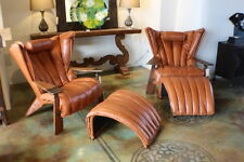 "Set of two 41"" W Leather chair ottoman Italian light brown leather exotic wood"