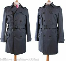 BNWT DUCHAMP Gunmetal Grey DB COTTON/POLYURETHANE Belted Trenchcoat Coat Uk44
