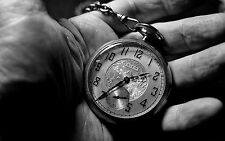 Framed Print - Pocket Watch on a Old Man's Hand Black & White (Picture Poster)