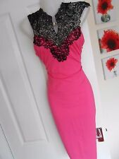 *STUNNING* AX PARIS SIZE 12 PINK BLACK LACE TOP BODYCON DRESS *FAST POSTAGE**