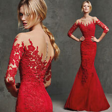 New Elegant 3/4 Sleeves Wedding Dresses Red Lace Mermaid Bridal Gown Custom Size