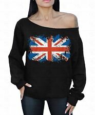 British Flag Off the shoulder oversized slouchy sweater sweatshirt