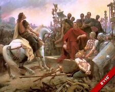 JULIUS CAESAR AT BATTLE OF ALESIA ROMAN WAR PAINTING ROME ART REAL CANVAS PRINT