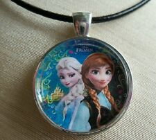 Disney's Frozen Princesses ANNA & ELSA, Glass Pendant with Leather Necklace