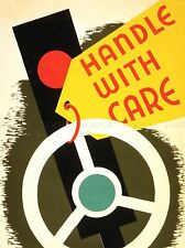 ILLUSTRATION SAFETY DRIVING STEERING WHEEL HANDLE WITH CARE POSTER PRINT LV1712