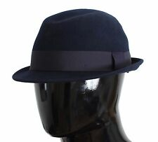NWT $240 DOLCE & GABBANA Trilby Hat Blue Wool Fedora Mens Cappello s. 59 / L