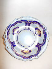Tiny China hand painted pierced rim plate or serving dish - tray - gold paint