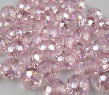 NEW Jewelry Faceted 30pcs Pink AB #5040 6x8mm Roundelle Crystal Beads DIY //C3