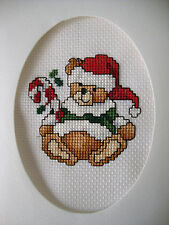 COMPLETED FINISHED CROSS STITCH CARD ''DARLING CHRISTMAS BEAR''