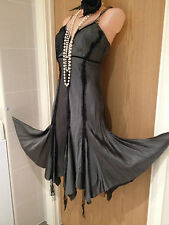 New River Island Grey & Black Lace Dress 1920s Flapper Cocktail Cruise Size 14