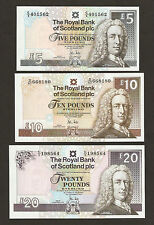 2010 Scotland £5 / £10 / £20 Pounds Banknotes Set Uncirculated
