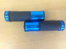 "Motorcycle scooter Trike ATV Handlebar Grips Blue Alloy Rubber 7/8"" 22mm & 25mm"
